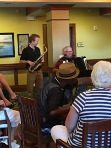 July Birthday Party-Eagan Pointe Senior Living-accordionist and saxophonist