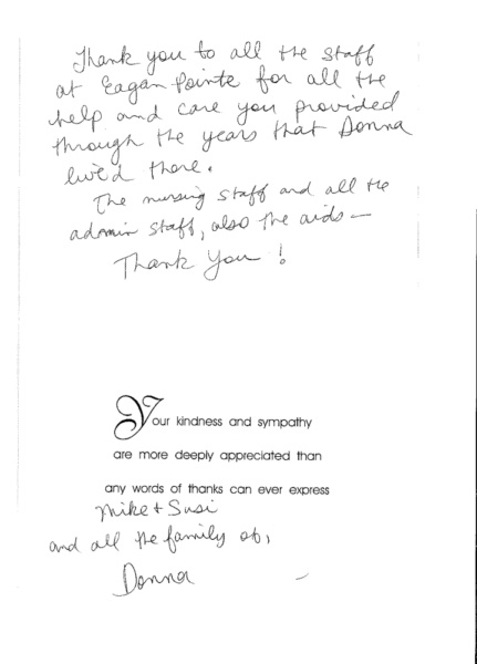 Eagan Pointe staff recently received this lovely note of thanks from the family of a former community member.